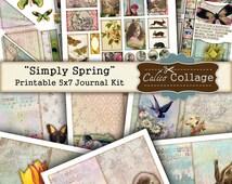 Simply Spring Printable Journal Kit, 5x7 Journal Pages, Scrapbooking, Decoupage, Mixed Media Art, Digital Journal Kit, Ephemera