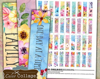 Inspire Digital Collage Sheet, .5x2 Matchstick Images, 12x50mm, Art Strips, Pendant images,  Digital Images, Printable Paper, Digital Sheet