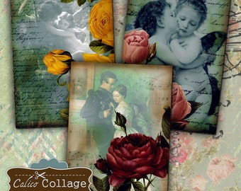 Romance and Roses Collage Sheet 2.5x3.5 Inch ATC Collage Sheet Gift Tags Decoupage Paper Romance Images Calico Collage Vintage Printables