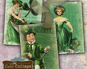St Patrick's Day ATC Digital Collage Sheet Printables 2.5x3.5 Images for Hang Tags, Decoupage, Scrapbooking, Greeting Cards, Paper Crafts