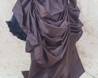 Dark Brown Floor Length Cabaret Tie On Bustle Skirt-One Size Fits All