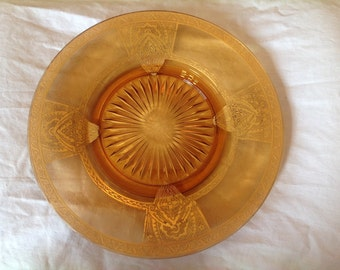 SALE!!  Beautiful Gold Trimmed Amber Glass Dinner Plate