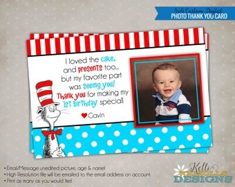Cat in the Hat Children's Photo Birthday Party Thank You Card, Dr Seuss Thank You Note #B112