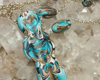 Natasha Bead Goddess Turquoise Abstract Goddess Chain Necklace