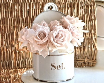 Lovely Vintage French Enamel Sel Box.......White With Gold