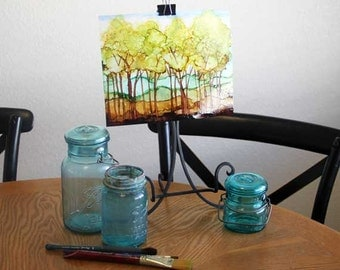 Original Trees painting, alcohol ink on glossy yupo paper, 8 x 10