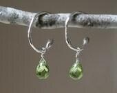Faceted Peridot Teardrop Hoop Earrings – Green Gemstone - August Birthstone - Silver - Post - Rustic – Asymmetrical Earrings – One of a Kind