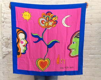Designer silk scarf / Niki de Saint Phalle / vintage large silk scarf / handrolled edges / bold colorful abstruct art