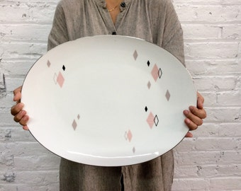 midcentury modern serving tray / atomic print porcelain tray / pink and black diamond print Sango Japan Prisma tray