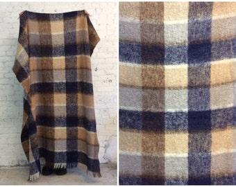 vintage large wool mohair plaid blanket / made in Ireland / Irish mohair blanket / plaid mohair shawl