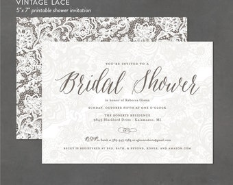Printable Bridal Shower Invitations, Vintage Lace Shower Invite for Rustic Wedding Showers - print at home party invitation