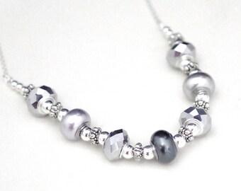 Swarovski Pearl & Crystal Rondelle Necklace - Large Silver Rondelles with Swarovski Pearl Grommets Necklace - Sterling Silver