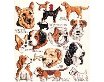 Gone to the Dogs Cross Stitch Pattern Chart Dog Breeds Faces Profile Doberman Basset Hound Bull Dog Irish Setter Vintage Embroidery Pattern
