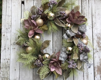 Christmas Wreaths, Victorian Christmas Wreath, Elegant Wreath for Door, Purple Christmas Wreath