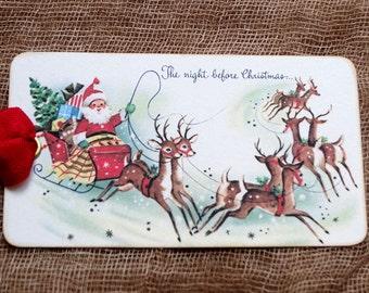 Vintage Style The Night Before Christmas Santa Sleigh Reindeer Christmas Gift or Scrapbook Tags or Magnet #127