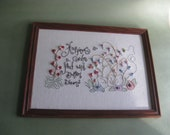Happiness is a Garden Hand Embroidery in Frame Vintage