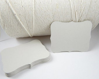 50 Blank Flat Cards, Light Gray Bracket cards, wedding place cards, Advice Cards, Choose Size, Set of 50