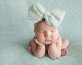 Newborn Hand Felted Big Bow Mint Merino Head Band