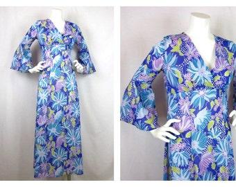 Vintage 70s Mod Angel Wing Maxi Dress, Sz S, M