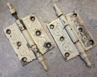 Pr WHITE VICTORIAN HINGES, Antique Hinges,Edwardian Door Hinges,Chippy White Hinge,Distressed Antique Hinge,Door Hardware,Antique Hardware