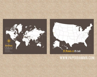 Family Travel Map, Canvas Pushpin Map, Traditional Map, World Map Poster, World Maps, Travel Map, Map Print, World Map Art // H-I22-2PS AA4