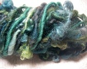 Handspun Art Yarn Hand Dyed Bulky Lockspun and Textured in a Mix of Wools and Greens by KnoxFarmFiber for Knit Crochet Weave Felt
