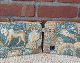 Small bag zipper pouch horse ox tiger leopard french blue gold tan mustard yellow renaissance medieval