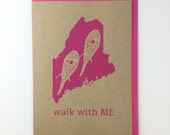 Walk with ME Blank Card with Envelope Silkscreened on Recycled Kraft Paper Compostable Plastic Sleeves