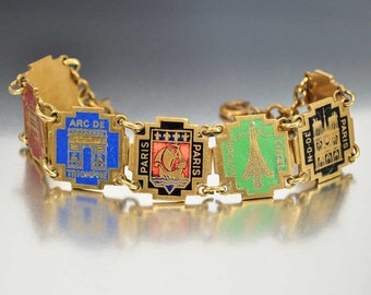 Paris Decor Bracelet, Eiffel Tower, French Souvenir Bracelet, Enamel Jewelry, 1930s Art Deco Jewelry, French Vintage