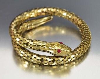 Snake Bracelet Armband, Coil Wrap Bracelet, Art Deco Style Bracelet, Red Rhinestone Eye Snake Bangle Bracelet, Vintage Snake Mesh Bracelet