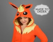 Flareon Pokemon Costume Hoodie - Made to Order