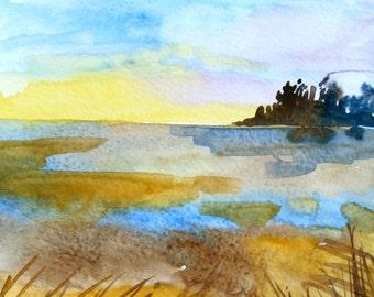 Sunset Watercolor Landscape, Small Watercolor Painting, Original Art