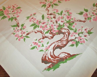 """Lovely Cotton 1950's Tablecloth with Pink Dogwood and Gray Center Piece, 52"""" x 46"""", Almost Perfect, 2 Very Light Stains"""