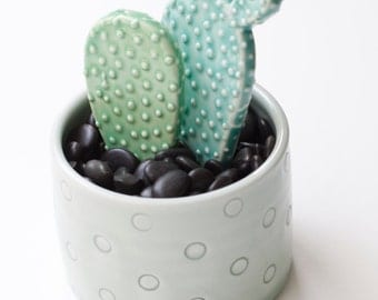Porcelain cactus with dot container