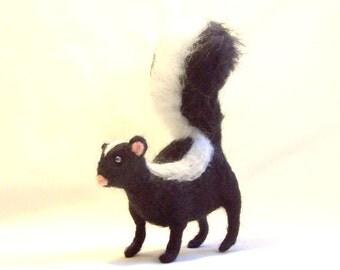 Needle Felted Animal Skunk Black and White