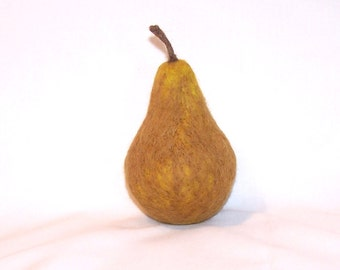 Needle Felted Bosc Pear - Life Size - Felt Pear - Felted Fruit -  Felt Food - Needlefelt Pear - Home Decor - Play Food - Kitchen Decor