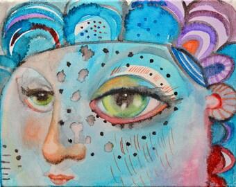 OOAK Original Blue Girl Watercolor on Canvas