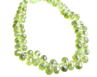 Peridot Briolette Beads, Teardrops, Olive Green, Faceted, August Birthstone, SKU 409