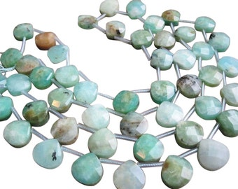 Peruvian Blue Opal Beads Briolettes, Faceted Briolettes, 12mm, Greenish Blue, Weddings, Brides Bridal, Loveofjewelry, SKU 3761