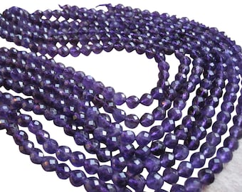 Amethyst Beads, Faceted Round, 8.5mm Round, February Birthstone, Purple Gemstone Beads, Loveofjewelry, SKU 2584
