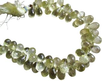 AAA Lemon Quartz Beads Briolettes, Faceted Teardrops Briolettes, 7mm x 11mm, Loveofjewelry, Weddings, Wholesale, Brides, SKU 2240A