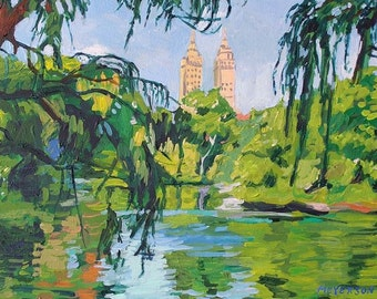Central Park Landscape The San Remo New York City Art NYC Art Wall Decor Art Print Framed Print landscape Painting by Gwen Meyerson
