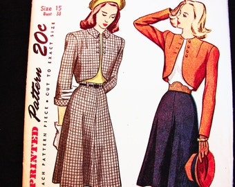 1940s Bolero Suit Jacket with Flared Skirt Pattern Size 15 Bust 33 Vintage Sewing Pattern