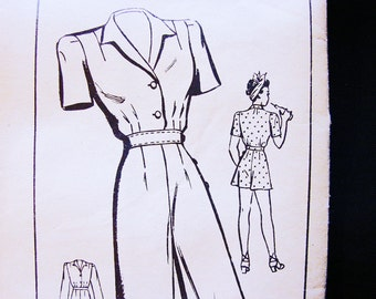 1940s Overalls Pattern Misses size 14 Bust 32 Womens Rosie the Riveter Jumpsuit and Playsuit Vintage Sewing Pattern