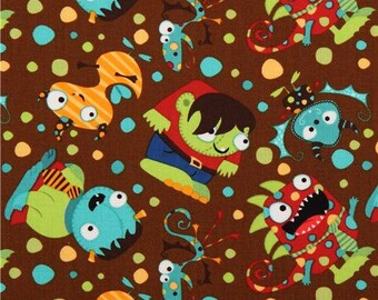 184849 brown Party monster fabric Camelot Monster Mash