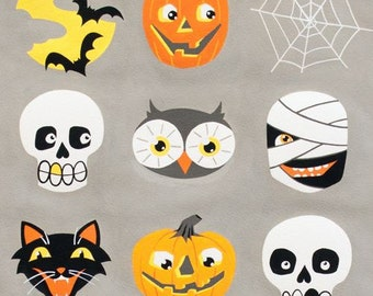 208478 grey Alexander Henry fabric cute ghost cat skull Haunted House