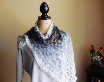 Shawl..Light Weight Shawl Scarf..Hand Crocheted Scarf..Shades Of Grey Shawl..Evening Wear Scarf..