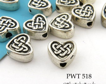 Small 6mm Celtic Heart Pewter Bead Antique Silver (PWT 518) 20 pcs BlueEchoBeads