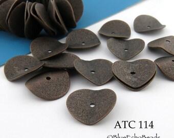 15mm Antique Copper Potato Chip Wavy Disk Beads (ATC 114) 8 pcs BlueEchoBeads