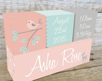 Personalized Wooden Name Birth Blocks Custom Made Wodland Design